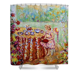 Westmount Garden Montreal City Scene Shower Curtain by Carole Spandau