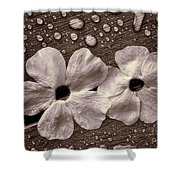 Wet Flowers And Wet Table Shower Curtain