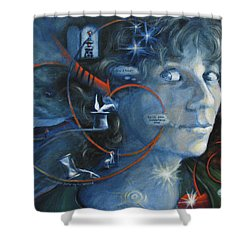 What I Was Thinking 5 Minutes Ago Shower Curtain by Meg Biddle