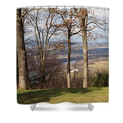 Where Are The Hills Shower Curtain by Robert Margetts