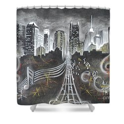 Where The Music Never Sleeps Shower Curtain by Carla Carson