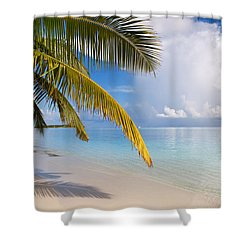 Whispering Palm On The Tropical Beach Shower Curtain by Jenny Rainbow