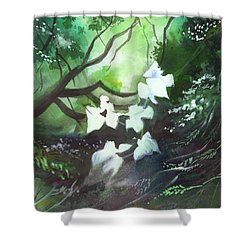 White Begonia Shower Curtain by Anil Nene