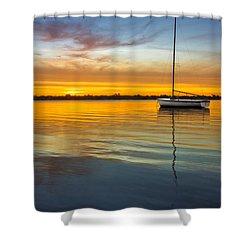White Boat Shower Curtain by Debra and Dave Vanderlaan