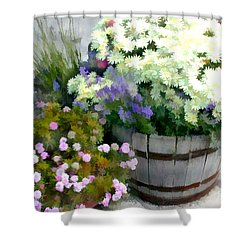White Chrysanthemums In A Barrel Shower Curtain by Elaine Plesser