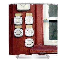 White Doorbells Shower Curtain by Carlos Caetano