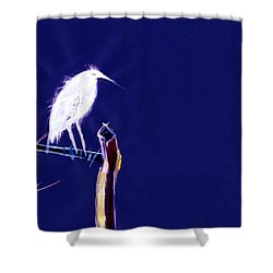 White Egret Shower Curtain by Anil Nene