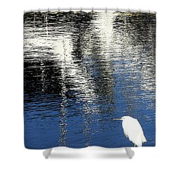 White Egret On Dock With Colorful Reflections Shower Curtain by Anne Mott