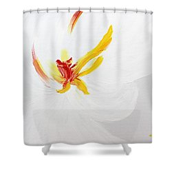White Flower Shower Curtain by Kume Bryant