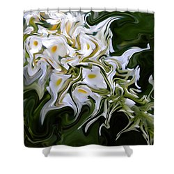 White Flowers 2 Shower Curtain by Renate Nadi Wesley
