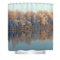 White Frost In Trees Shower Curtain by Ralf Kaiser