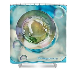 White Gladiola Marble In A Bubble Shower Curtain