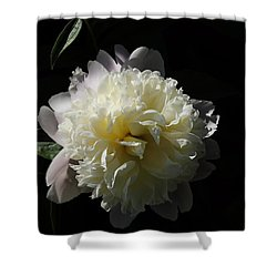 White On Black Peony Shower Curtain