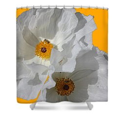White Poppies On Yellow Shower Curtain