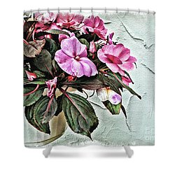 White Pot Shower Curtain by Joan  Minchak