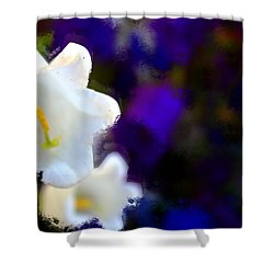 White Purple Shower Curtain by Terence Morrissey