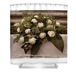 White Roses For The Wedding Shower Curtain by Mary Machare