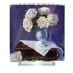 White Roses In A Silver Vase Shower Curtain by Jack Skinner
