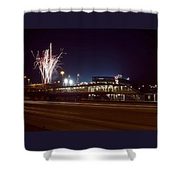 White Sox Homer Fireworks Shower Curtain by Sven Brogren