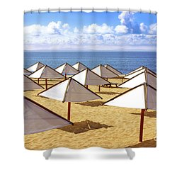 White Sunshades Shower Curtain by Carlos Caetano