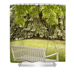 White Swing In The Green Shower Curtain by James BO  Insogna