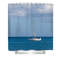 White Yacht Sails In The Sea Along The Coast Line Shower Curtain by Ulrich Schade