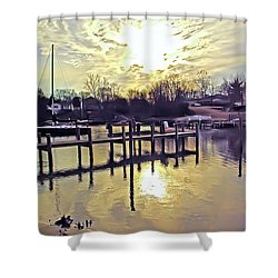 White's Cove In Winter Shower Curtain by Brian Wallace