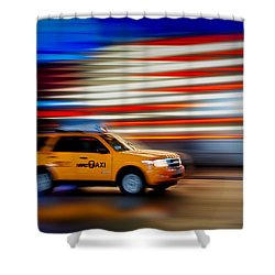 Whizzing Along Shower Curtain by Susan Candelario