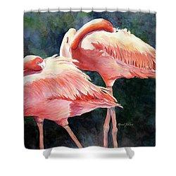 Who's Peek'n - Flamingos Shower Curtain