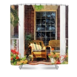 Wicker Chair With Striped Pillow Shower Curtain by Susan Savad