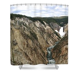 Wide View Of The Lower Falls In Yellowstone Shower Curtain by Living Color Photography Lorraine Lynch