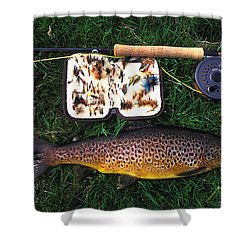 Wild Brown Trout And Fishing Rod Shower Curtain by Axiom Photographic