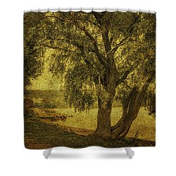 Willow At The Lake. Golden Green Series Shower Curtain by Jenny Rainbow