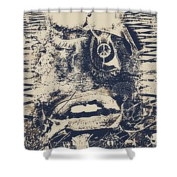 Willy The Smirk Two Shower Curtain by Jerry Cordeiro