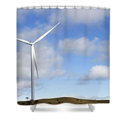 Wind Turbine  Shower Curtain by Les Cunliffe
