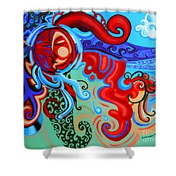 Winding Sun Shower Curtain by Genevieve Esson