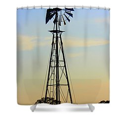 Shower Curtain featuring the photograph Windmill At Dusk by Kathy  White
