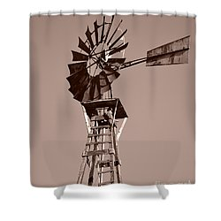 Windmill Sepia Shower Curtain by Rebecca Margraf