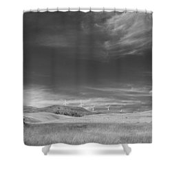 Shower Curtain featuring the photograph Windmills In The Distant Hills by Kathleen Grace
