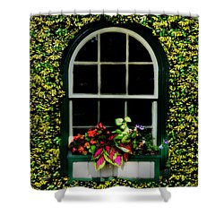 Window On An Ivy Covered Wall Shower Curtain by Bill Cannon