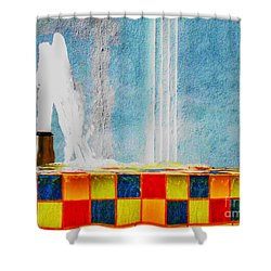 Shower Curtain featuring the photograph Windy Fountain  by John King