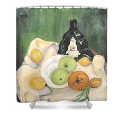 Wine And Fruit Shower Curtain by Caroline Street