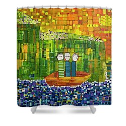 Shower Curtain featuring the painting Wink Blink And Nod by Donna Howard