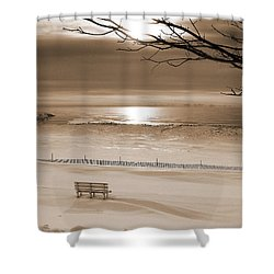Winter Beach Morning Sepia Shower Curtain by Bill Pevlor
