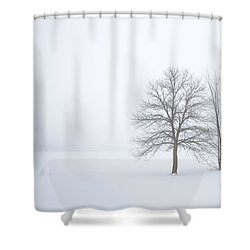 Winter Fog And Trees Shower Curtain