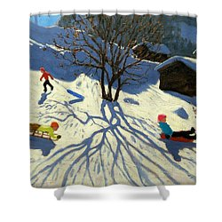 Winter Hillside Morzine France Shower Curtain by Andrew Macara