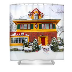 Winter In Ditmas Park Shower Curtain by Mark Gilman