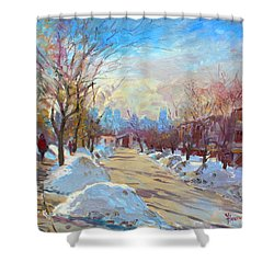Winter In Silverado Dr Mississauga On Shower Curtain by Ylli Haruni