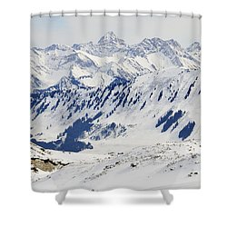 Winter In The Alps - Snow Covered Mountains Shower Curtain by Matthias Hauser