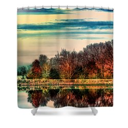 Winter Lake Fantasm Shower Curtain by Bill Tiepelman
